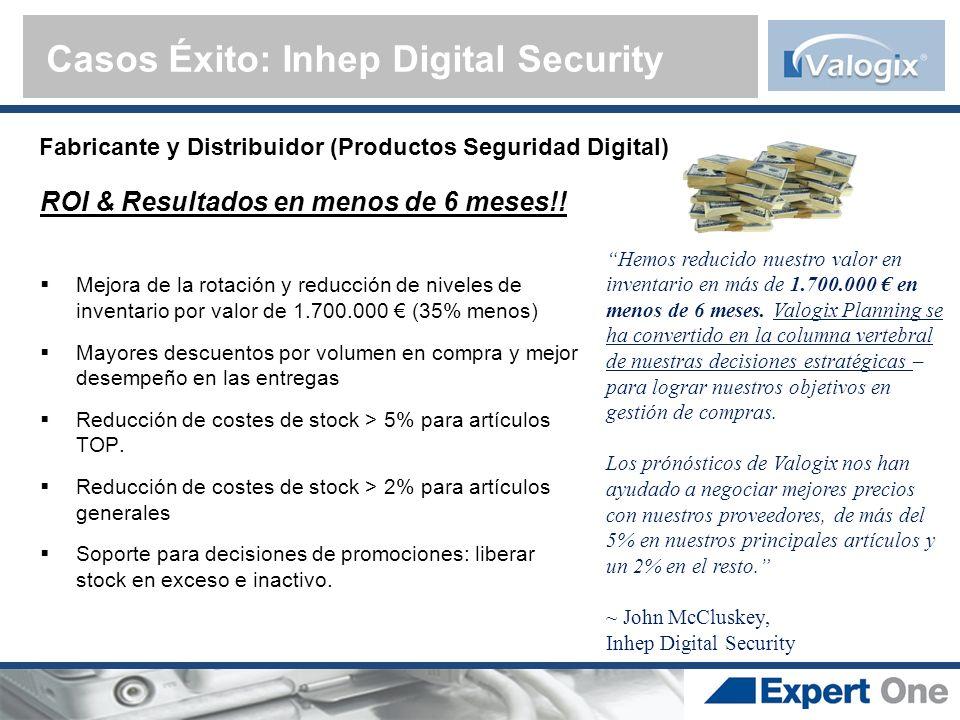 Fabricante y Distribuidor (Productos Seguridad Digital) Casos Éxito: Inhep Digital Security Hemos reducido nuestro valor en inventario en más de 1.700