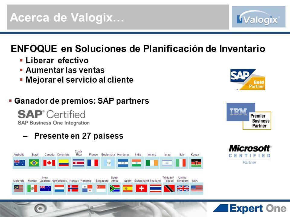 Acerca de Valogix… ENFOQUE en Soluciones de Planificación de Inventario Liberar efectivo Aumentar las ventas Mejorar el servicio al cliente Ganador de