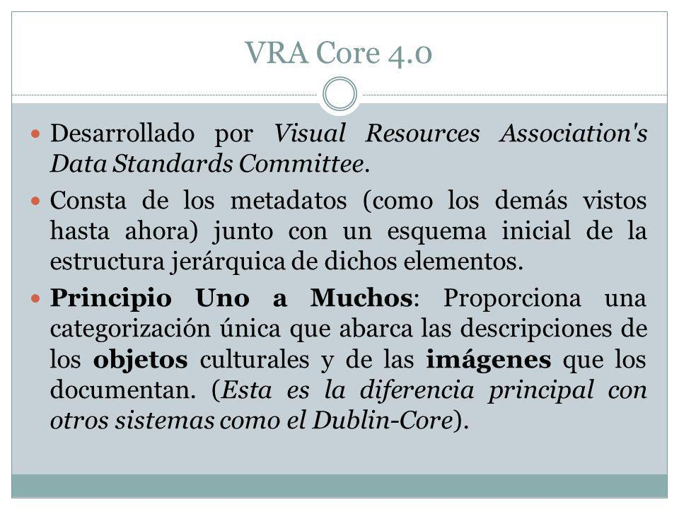 VRA Core 4.0 Desarrollado por Visual Resources Association s Data Standards Committee.