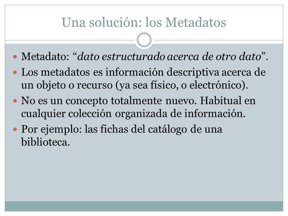 Una solución: los Metadatos Metadato: dato estructurado acerca de otro dato.