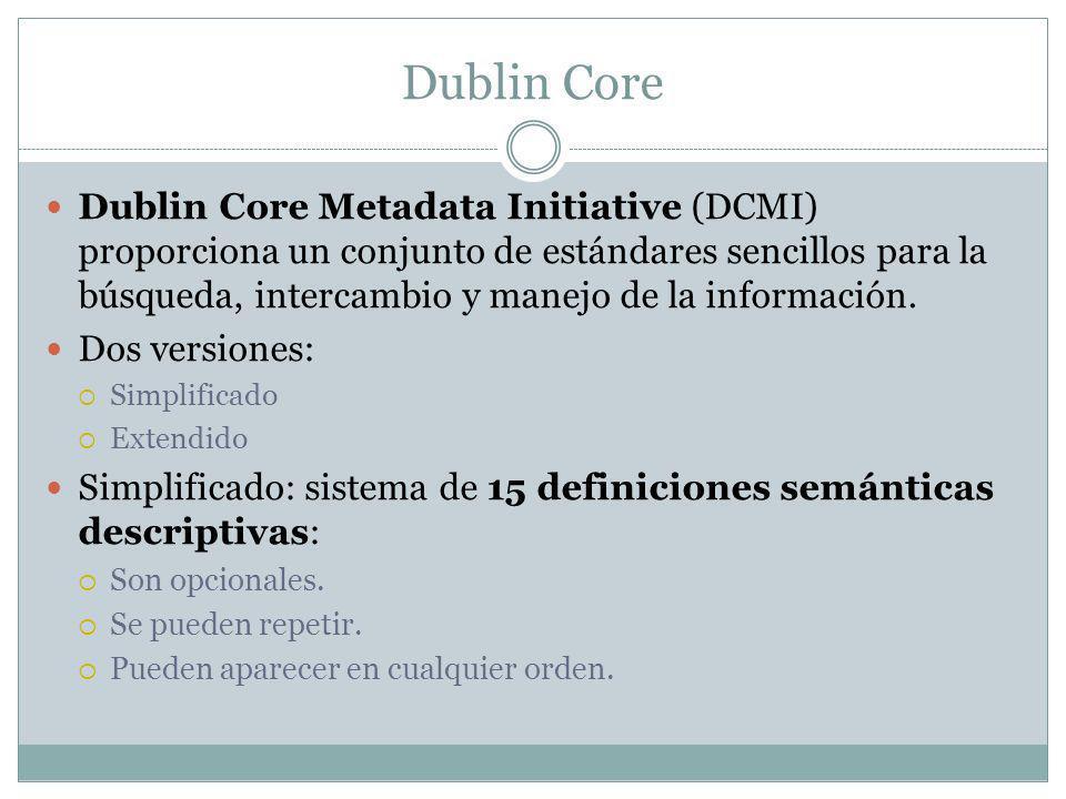 Dublin Core Dublin Core Metadata Initiative (DCMI) proporciona un conjunto de estándares sencillos para la búsqueda, intercambio y manejo de la información.