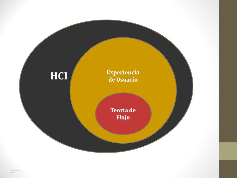 Teoría de Flujo HCI Experiencia de Usuario P r e s e n t a c i ó n pag 3
