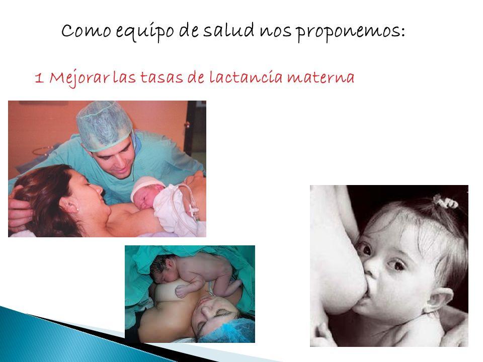 Como equipo de salud nos proponemos: 1 Mejorar las tasas de lactancia materna