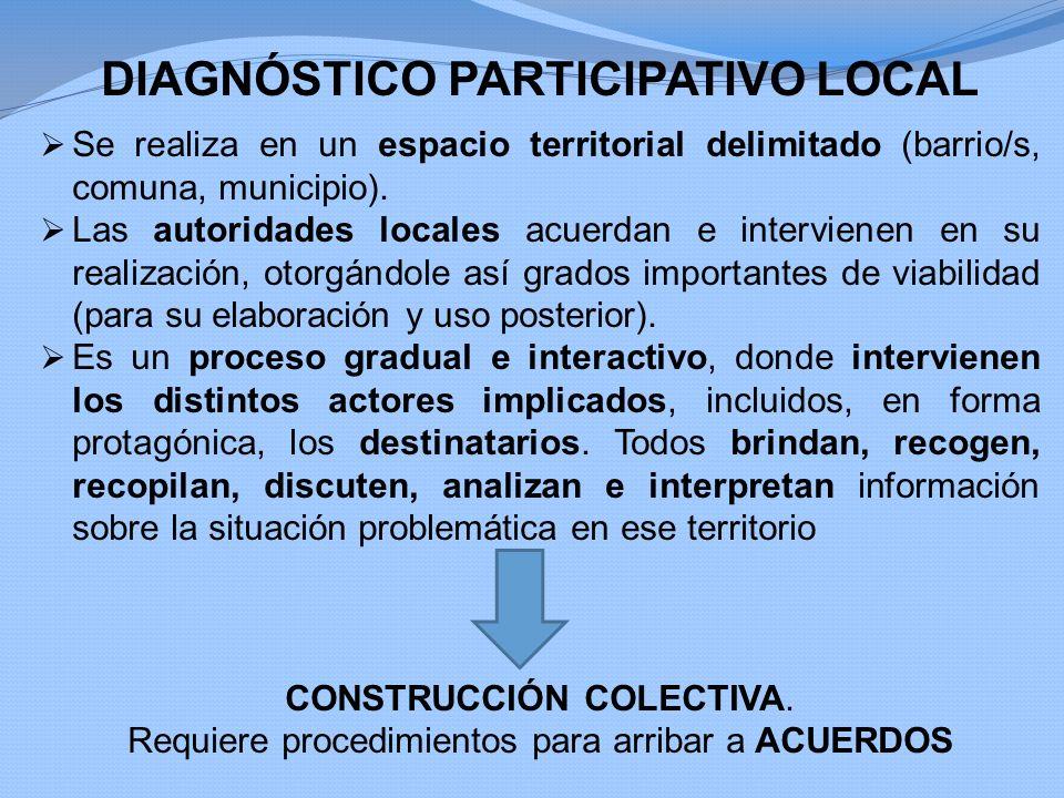 DIAGNÓSTICO PARTICIPATIVO LOCAL Se realiza en un espacio territorial delimitado (barrio/s, comuna, municipio). Las autoridades locales acuerdan e inte