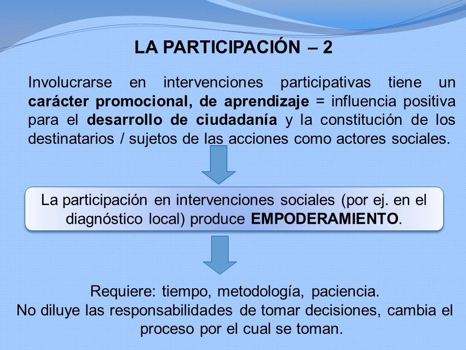 LA PARTICIPACIÓN – 2 Involucrarse en intervenciones participativas tiene un carácter promocional, de aprendizaje = influencia positiva para el desarro