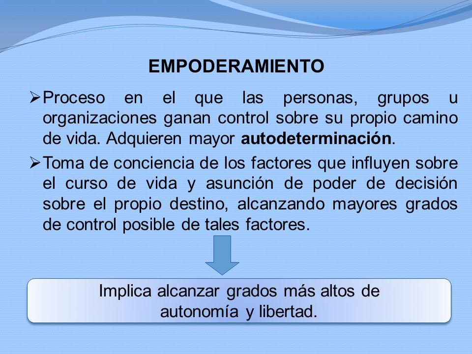 EMPODERAMIENTO Proceso en el que las personas, grupos u organizaciones ganan control sobre su propio camino de vida. Adquieren mayor autodeterminación