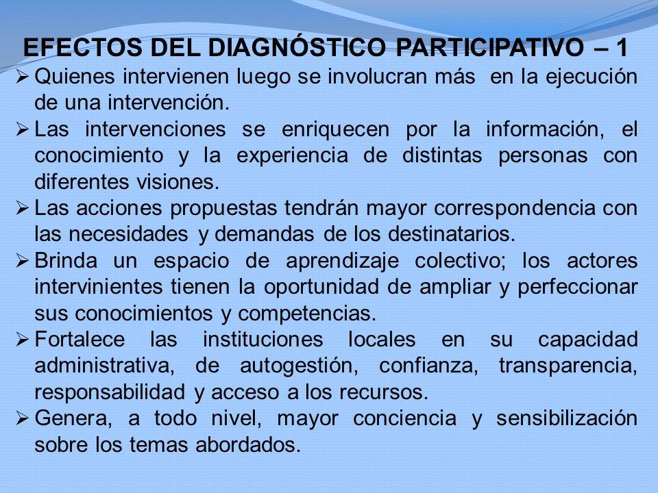 EFECTOS DEL DIAGNÓSTICO PARTICIPATIVO – 1 Quienes intervienen luego se involucran más en la ejecución de una intervención. Las intervenciones se enriq