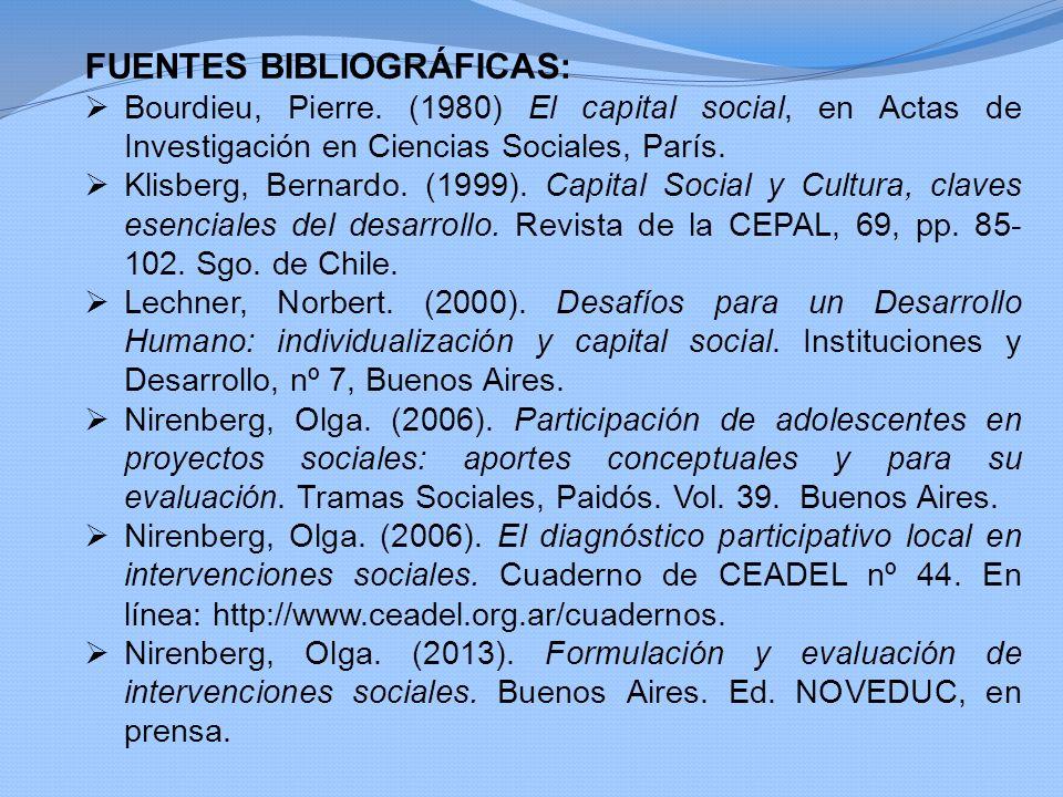FUENTES BIBLIOGRÁFICAS: Bourdieu, Pierre. (1980) El capital social, en Actas de Investigación en Ciencias Sociales, París. Klisberg, Bernardo. (1999).