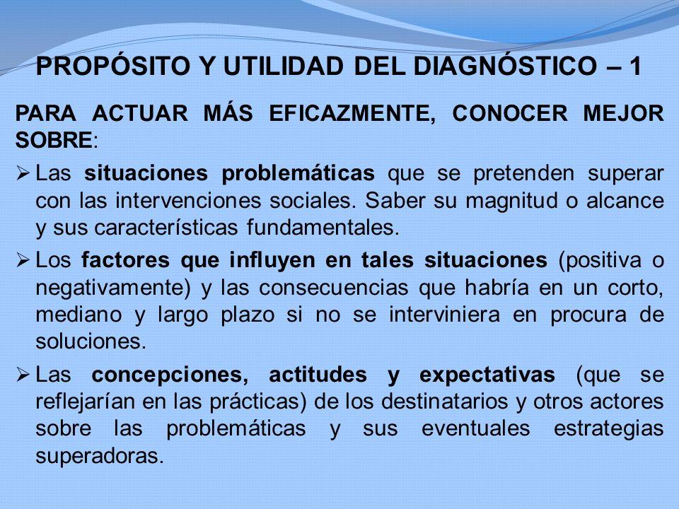 PROPÓSITO Y UTILIDAD DEL DIAGNÓSTICO – 1 PARA ACTUAR MÁS EFICAZMENTE, CONOCER MEJOR SOBRE: Las situaciones problemáticas que se pretenden superar con
