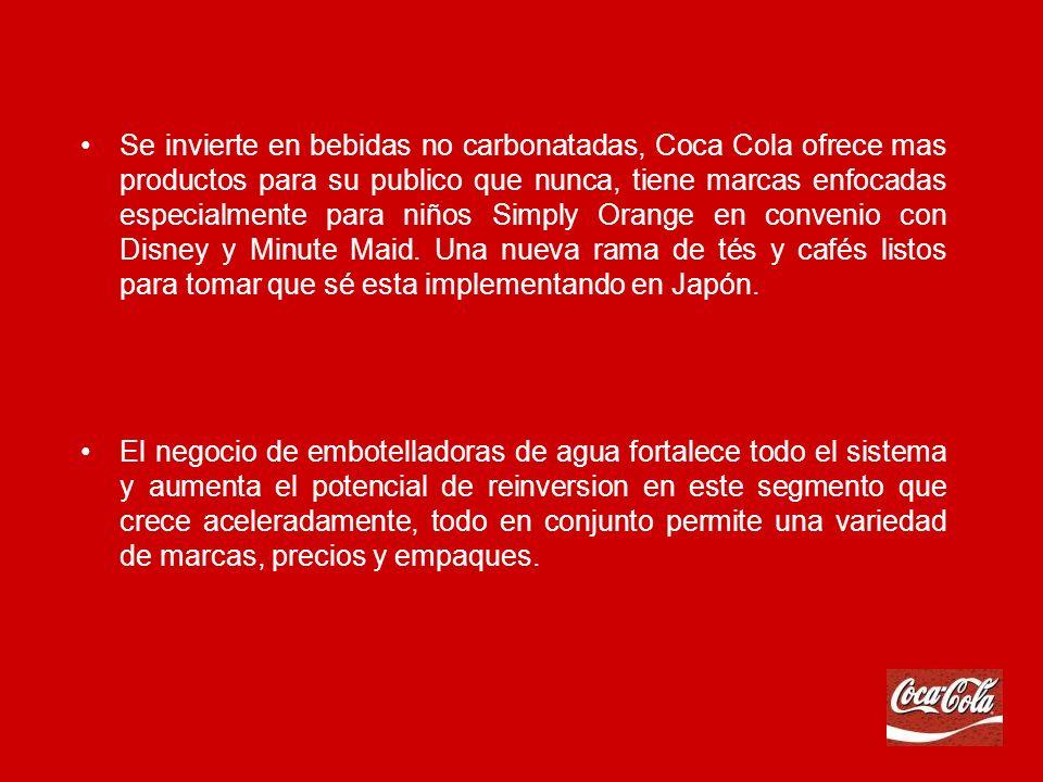 Se invierte en bebidas no carbonatadas, Coca Cola ofrece mas productos para su publico que nunca, tiene marcas enfocadas especialmente para niños Simply Orange en convenio con Disney y Minute Maid.