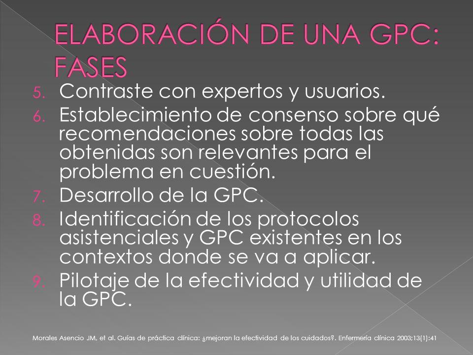 5. Contraste con expertos y usuarios. 6.