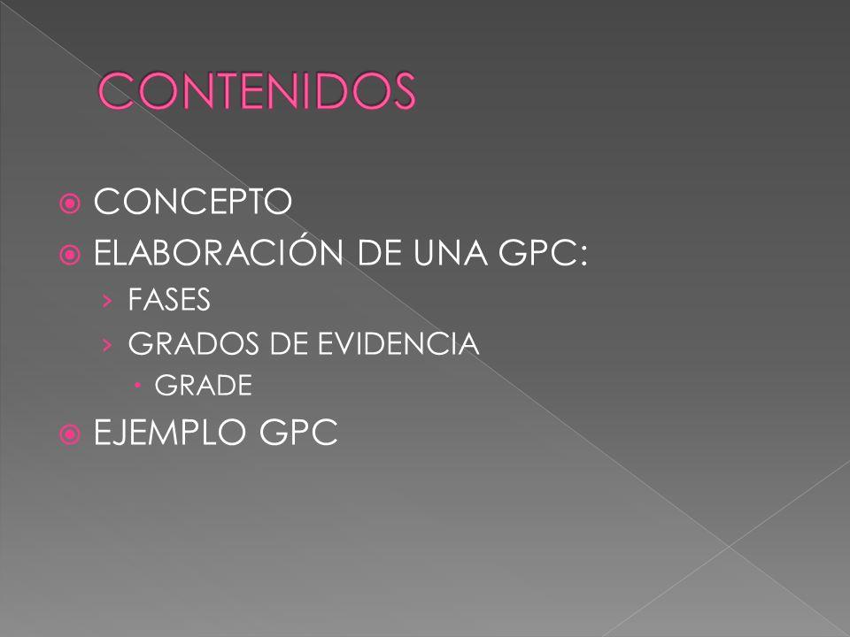 CONCEPTO ELABORACIÓN DE UNA GPC: FASES GRADOS DE EVIDENCIA GRADE EJEMPLO GPC