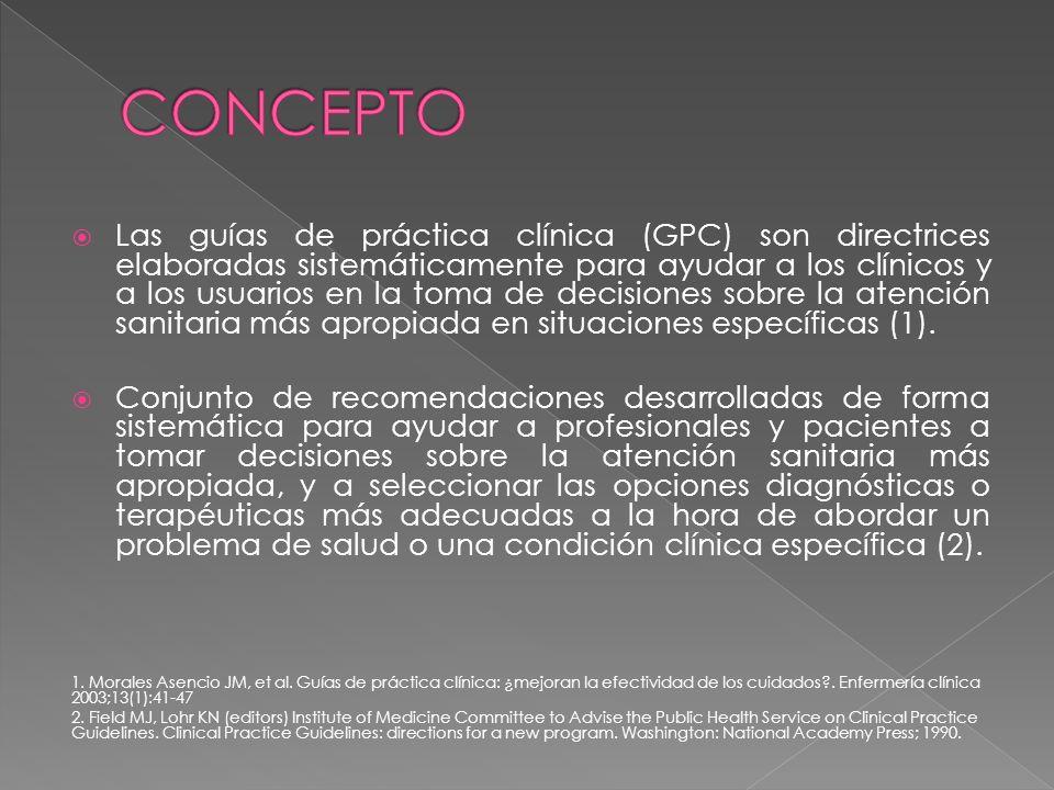 Morales Asencio JM, et al.Guías de práctica clínica: ¿mejoran la efectividad de los cuidados?.
