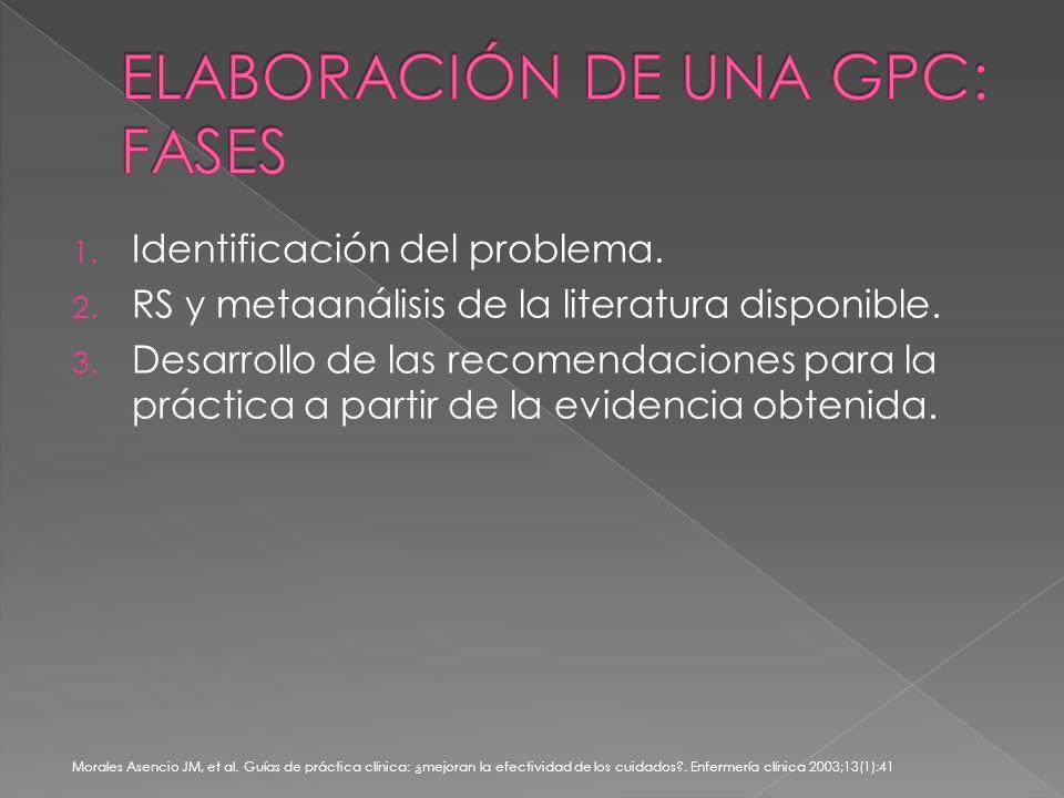 1. Identificación del problema. 2. RS y metaanálisis de la literatura disponible.