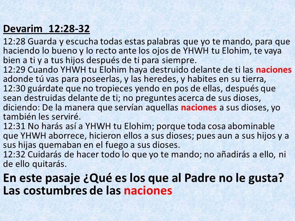 Devarim 12:28-32 12:28 Guarda y escucha todas estas palabras que yo te mando, para que haciendo lo bueno y lo recto ante los ojos de YHWH tu Elohim, t