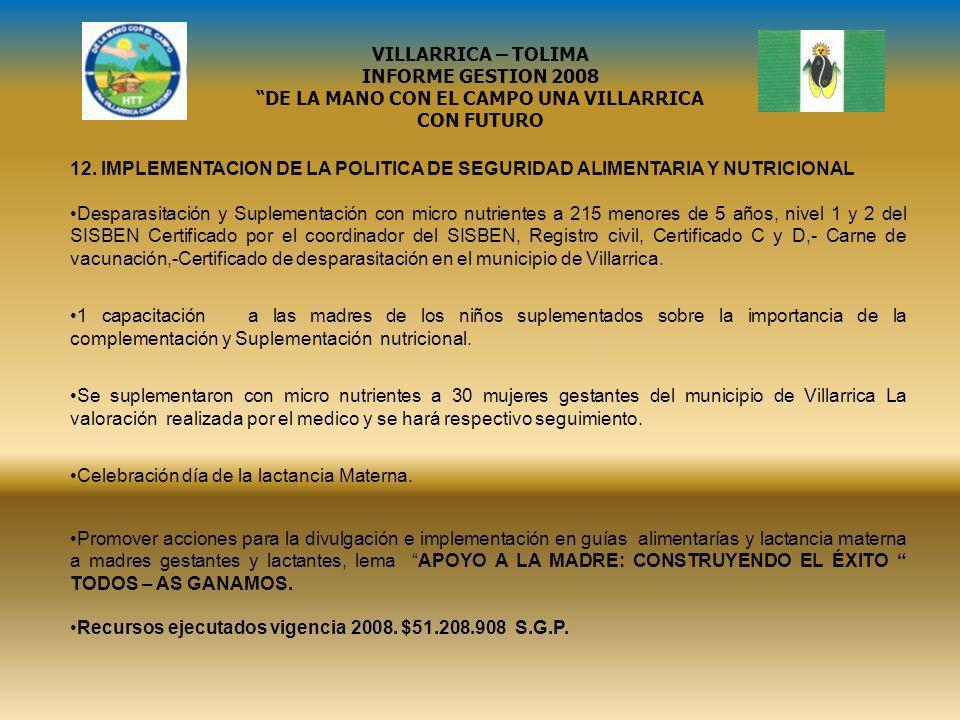 12. IMPLEMENTACION DE LA POLITICA DE SEGURIDAD ALIMENTARIA Y NUTRICIONAL Desparasitación y Suplementación con micro nutrientes a 215 menores de 5 años