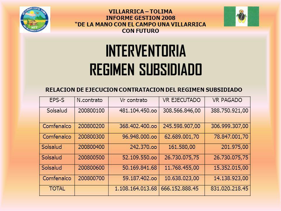 INTERVENTORIA REGIMEN SUBSIDIADO EPS-SN.contratoVr contratoVR EJECUTADOVR PAGADO Solsalud200800100481.104.450.oo308.566.846,00388.750.921,00 Comfenalc