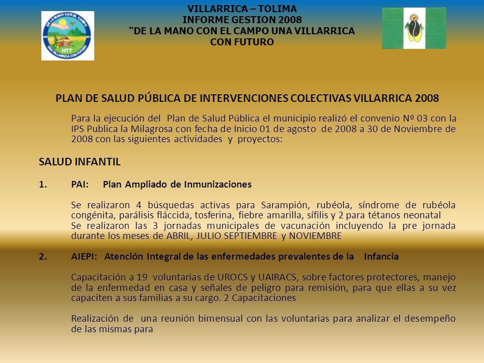 PLAN DE SALUD PÚBLICA DE INTERVENCIONES COLECTIVAS VILLARRICA 2008 Para la ejecución del Plan de Salud Pública el municipio realizó el convenio Nº 03
