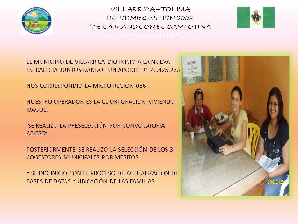 VILLARRICA – TOLIMA INFORME GESTION 2008 DE LA MANO CON EL CAMPO UNA VILLARRICA CON FUTURO EL MUNICIPIO DE VILLARRICA DIO INICIO A LA NUEVA ESTRATEGIA