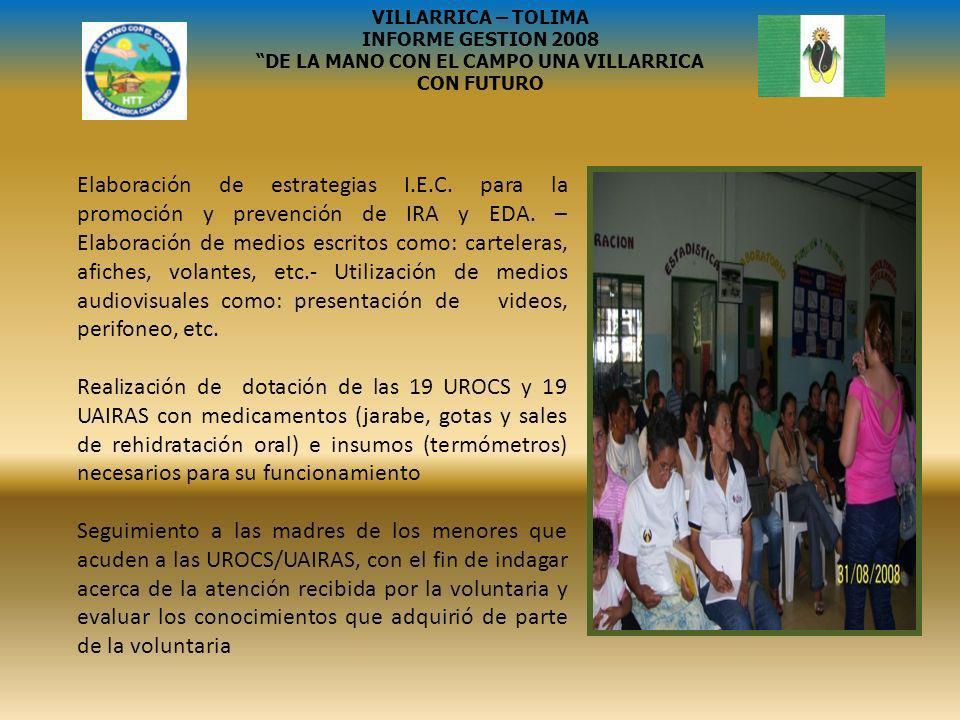 SISBEN PARALELO ENTRE 2007 Y 2008 PERSONAS 2007 HOGARES 2007 NIVEL 2007 PERSONAS 2008 HOGARES 2008 NIVEL 2008 43316615052111 47222102 003003 004004 VILLARRICA – TOLIMA INFORME GESTION 2008 DE LA MANO CON EL CAMPO UNA VILLARRICA CON FUTURO