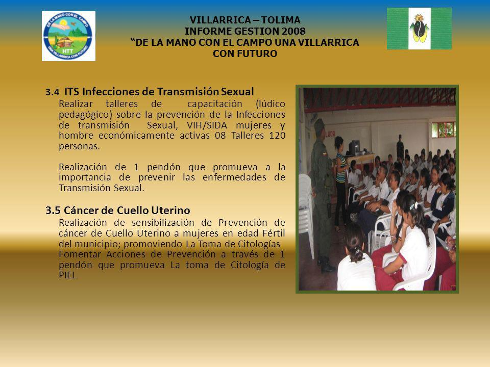 3.4 ITS Infecciones de Transmisión Sexual Realizar talleres de capacitación (lúdico pedagógico) sobre la prevención de la Infecciones de transmisión S