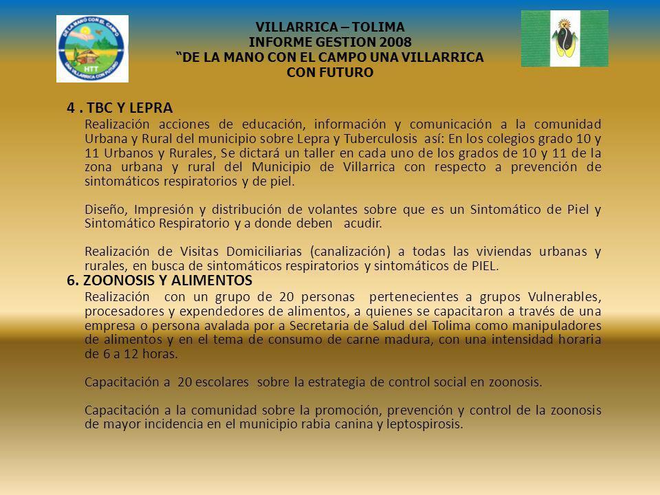 VILLARRICA – TOLIMA INFORME GESTION 2008 DE LA MANO CON EL CAMPO UNA VILLARRICA CON FUTURO EL MUNICIPIO DE VILLARRICA DIO INICIO A LA NUEVA ESTRATEGIA JUNTOS DANDO UN APORTE DE 20.425.273.
