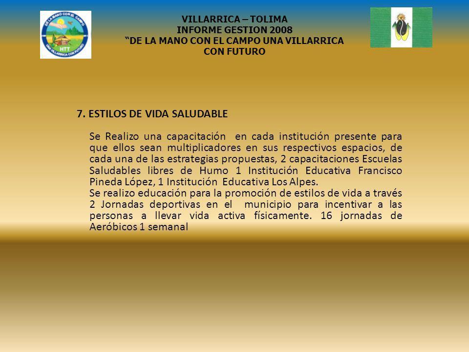 SISBEN VILLARRICA – TOLIMA INFORME GESTION 2008 DE LA MANO CON EL CAMPO UNA VILLARRICA CON FUTURO GRACIAS