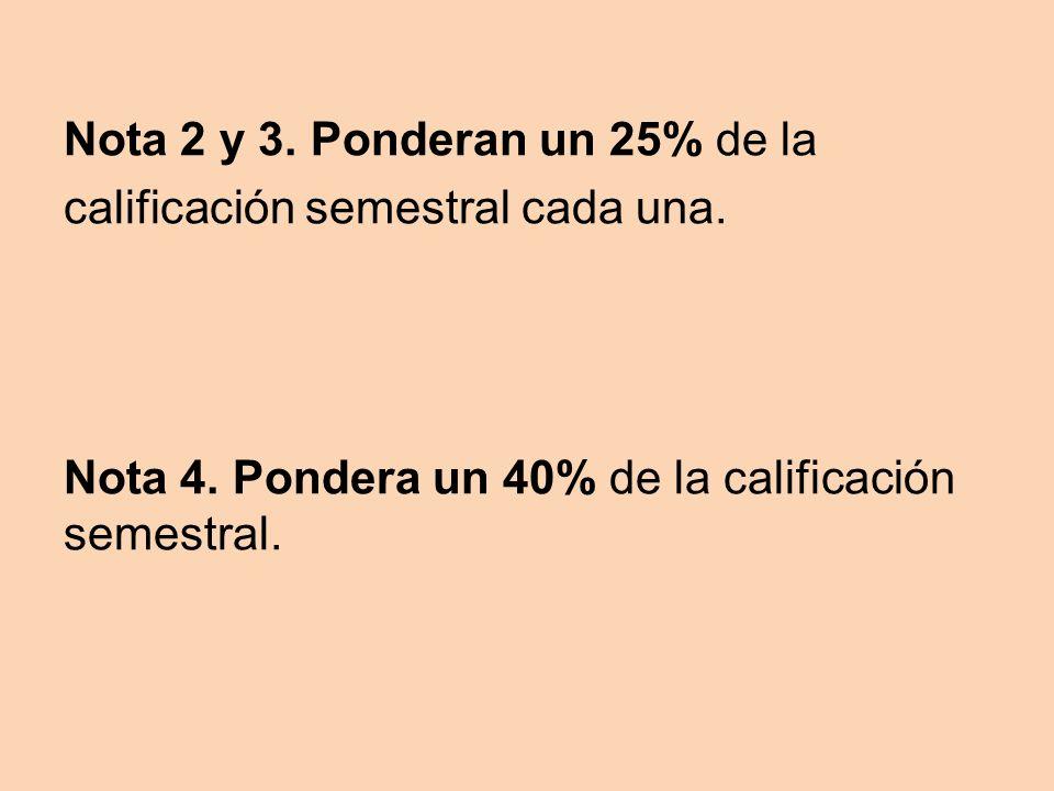 Nota 2 y 3. Ponderan un 25% de la calificación semestral cada una.