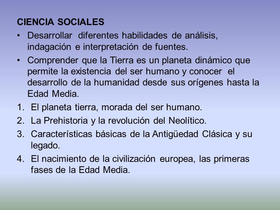 CIENCIA SOCIALES Desarrollar diferentes habilidades de análisis, indagación e interpretación de fuentes.