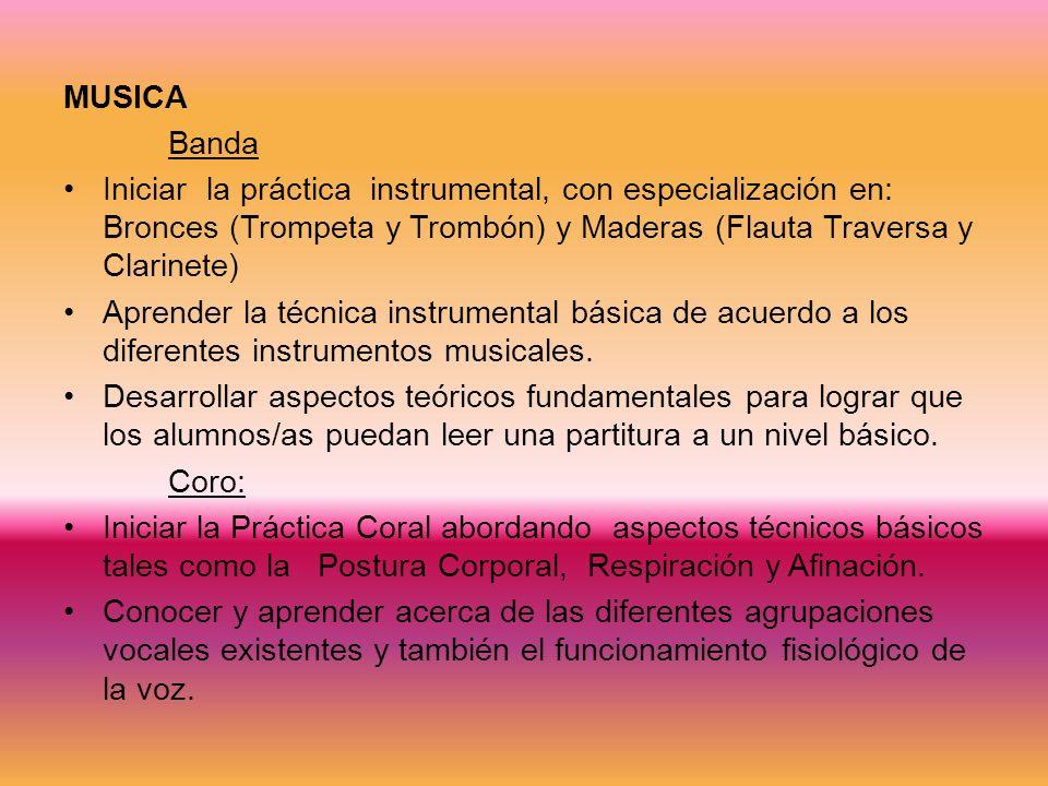 MUSICA Banda Iniciar la práctica instrumental, con especialización en: Bronces (Trompeta y Trombón) y Maderas (Flauta Traversa y Clarinete) Aprender la técnica instrumental básica de acuerdo a los diferentes instrumentos musicales.