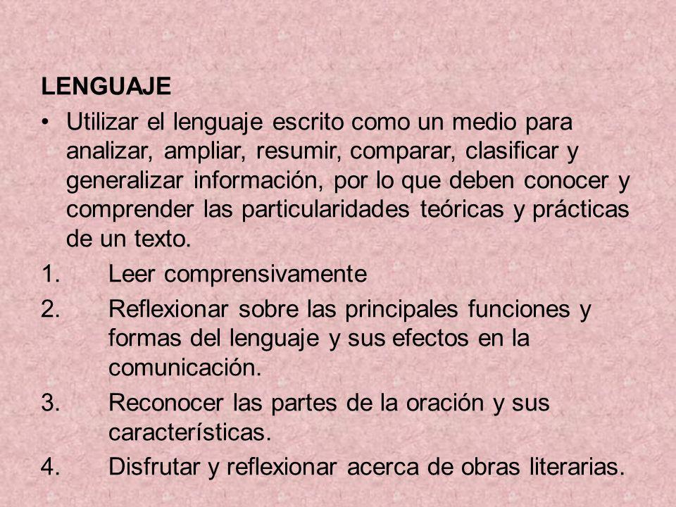 LENGUAJE Utilizar el lenguaje escrito como un medio para analizar, ampliar, resumir, comparar, clasificar y generalizar información, por lo que deben conocer y comprender las particularidades teóricas y prácticas de un texto.