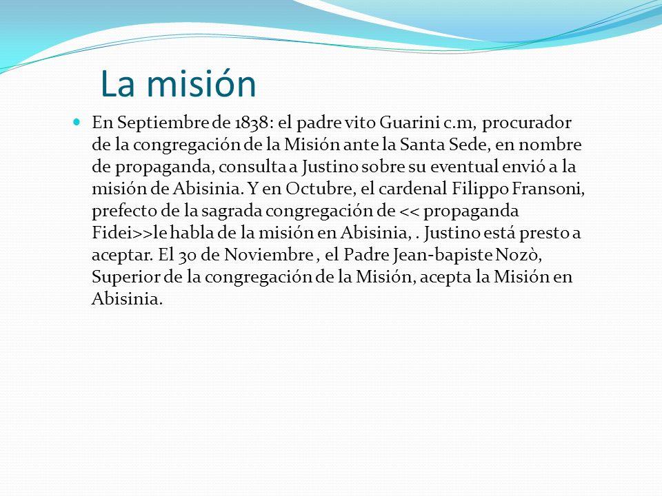 La misión En Septiembre de 1838: el padre vito Guarini c.m, procurador de la congregación de la Misión ante la Santa Sede, en nombre de propaganda, co