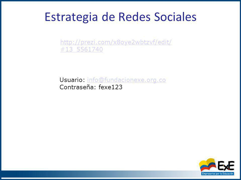 Estrategia de Redes Sociales http://prezi.com/x8oye2wbtzvf/edit/ #13_5561740 Usuario: info@fundacionexe.org.coinfo@fundacionexe.org.co Contraseña: fexe123