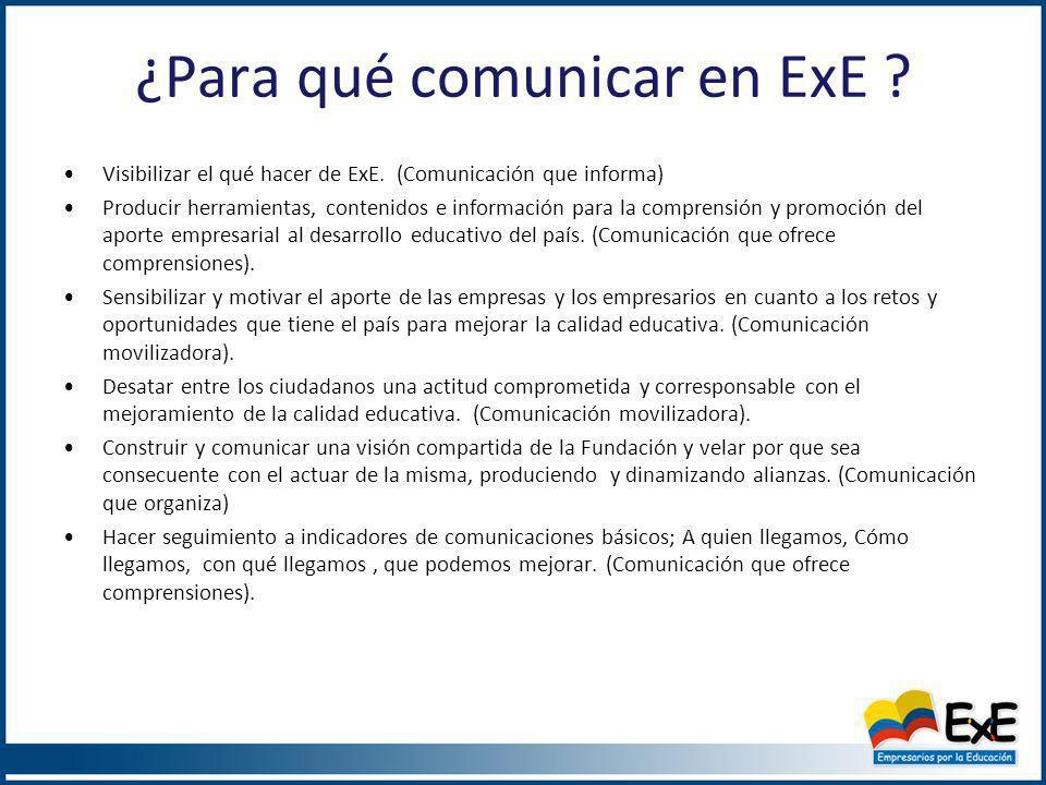 Oportunidades de Comunicación ExE La descripción del objetivo de la ExE está en función de lo que hace la Fundación.