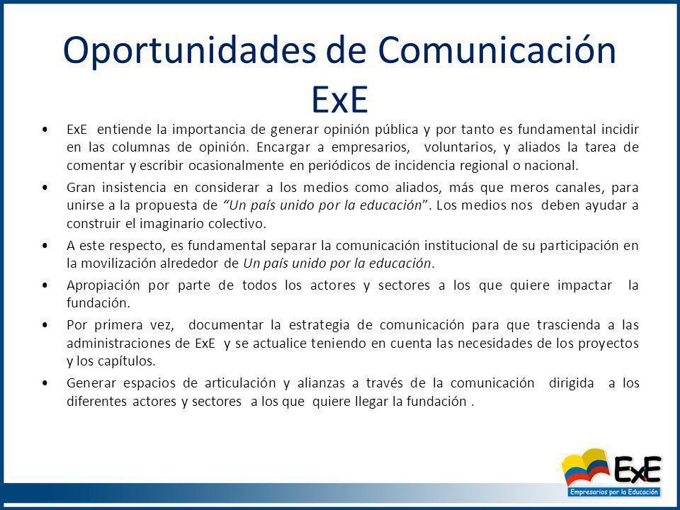 Plan de Acción de Comunicaciones de ExE Los objetivos de comunicación y sus temas críticos, nos conducen al diseño de la matriz de comunicación en sus dimensiones informativa, movilizadora, corporativa y organizacional.