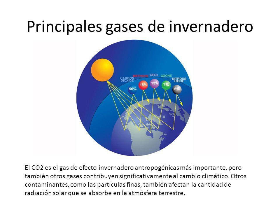 Principales gases de invernadero El CO2 es el gas de efecto invernadero antropogénicas más importante, pero también otros gases contribuyen significat