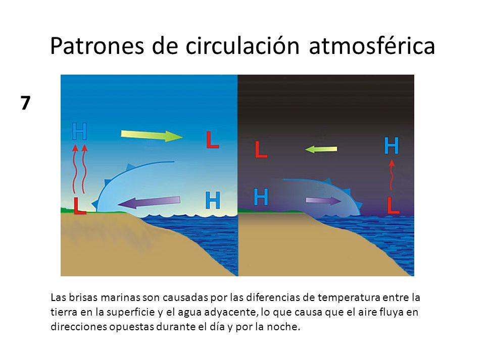 Patrones de circulación atmosférica Las brisas marinas son causadas por las diferencias de temperatura entre la tierra en la superficie y el agua adya
