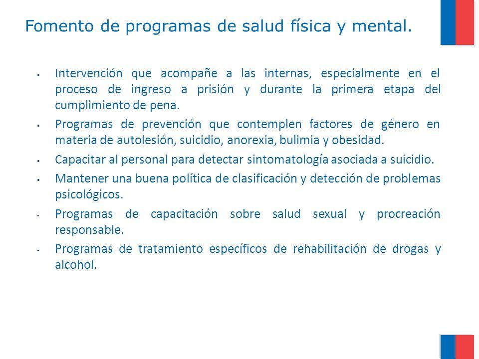 Fomento de programas de salud física y mental. Intervención que acompañe a las internas, especialmente en el proceso de ingreso a prisión y durante la
