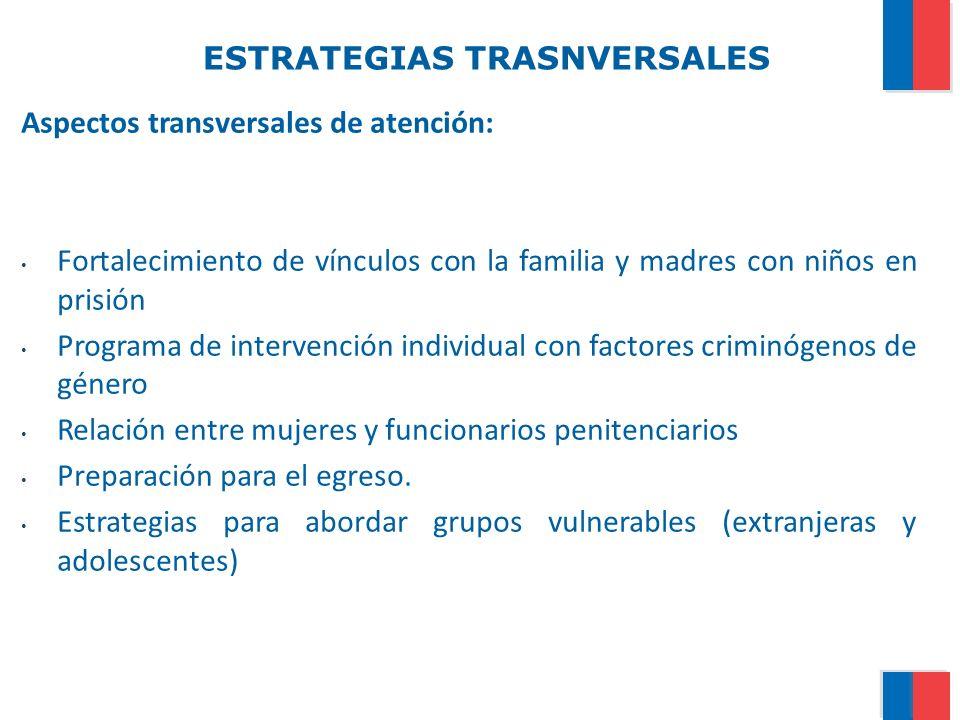 ESTRATEGIAS TRASNVERSALES Aspectos transversales de atención: Fortalecimiento de vínculos con la familia y madres con niños en prisión Programa de int