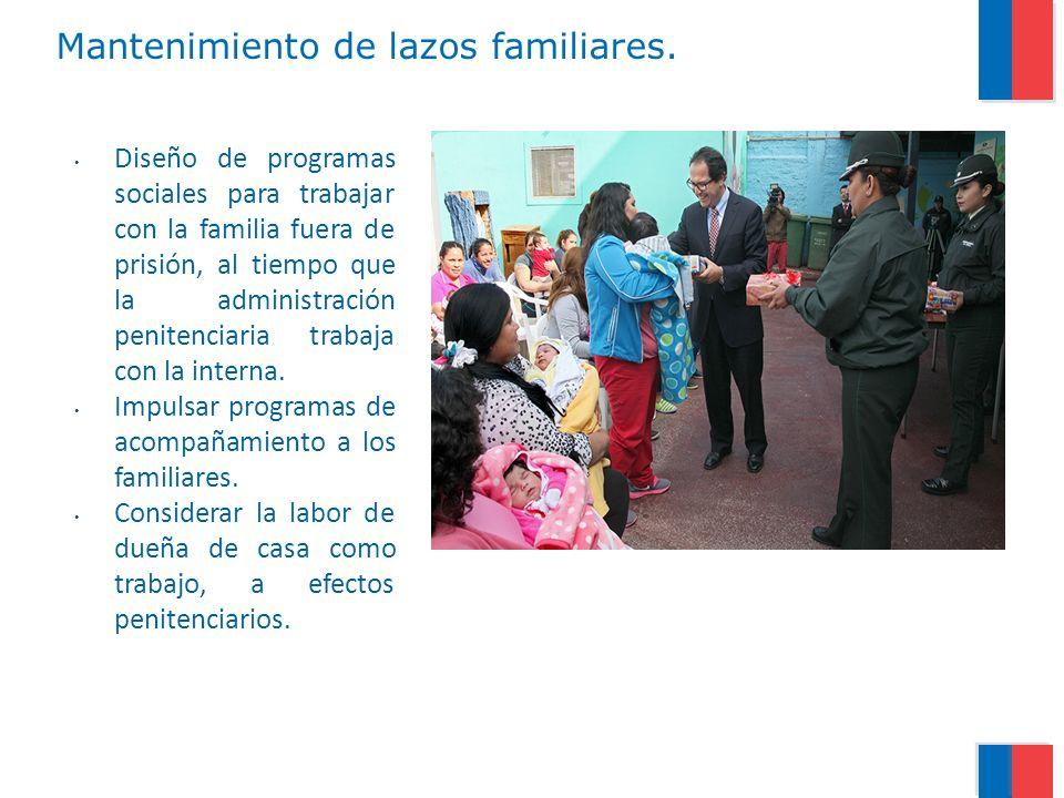 Mantenimiento de lazos familiares. Diseño de programas sociales para trabajar con la familia fuera de prisión, al tiempo que la administración peniten