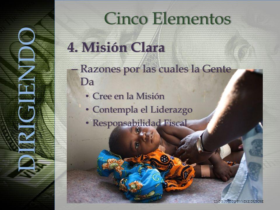 Cinco ElementosCinco Elementos DIRIGIENDO – Razones por las cuales la Gente Da Cree en la Misión Cree en la Misión Contempla el Liderazgo Contempla el