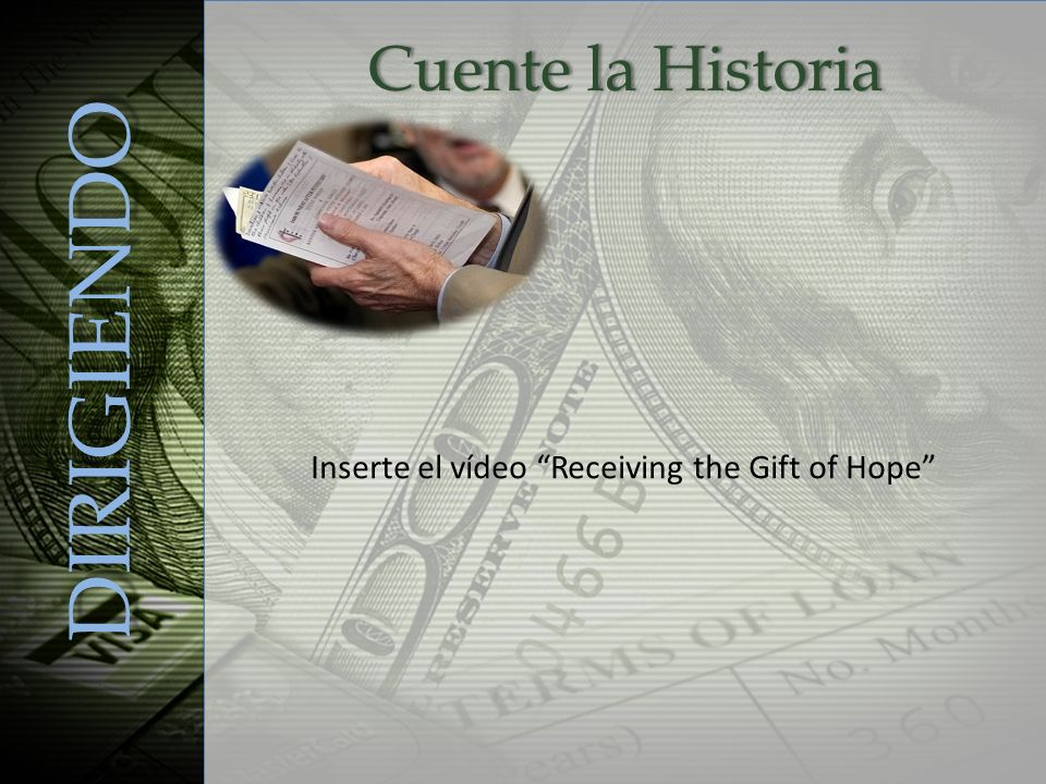 DIRIGIENDO Inserte el vídeo Receiving the Gift of Hope