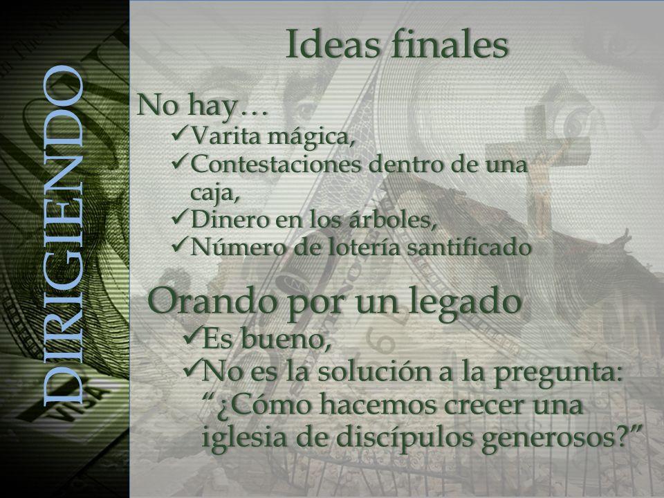 DIRIGIENDO Ideas finalesIdeas finales No hay…No hay… Varita mágica, Varita mágica, Contestaciones dentro de una caja, Contestaciones dentro de una caj