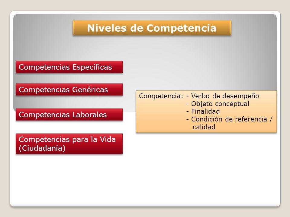 Niveles de Competencia Competencias Específicas Competencias Genéricas Competencias Laborales Competencias para la Vida (Ciudadanía) Competencias para la Vida (Ciudadanía) Competencia: - Verbo de desempeño - Objeto conceptual - Finalidad - Condición de referencia / calidad Competencia: - Verbo de desempeño - Objeto conceptual - Finalidad - Condición de referencia / calidad