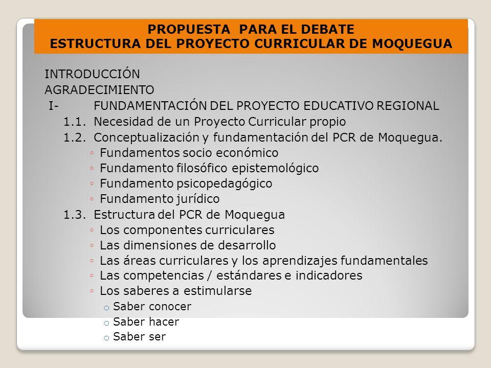 INTRODUCCIÓN AGRADECIMIENTO I- FUNDAMENTACIÓN DEL PROYECTO EDUCATIVO REGIONAL 1.1.Necesidad de un Proyecto Curricular propio 1.2.Conceptualización y fundamentación del PCR de Moquegua.