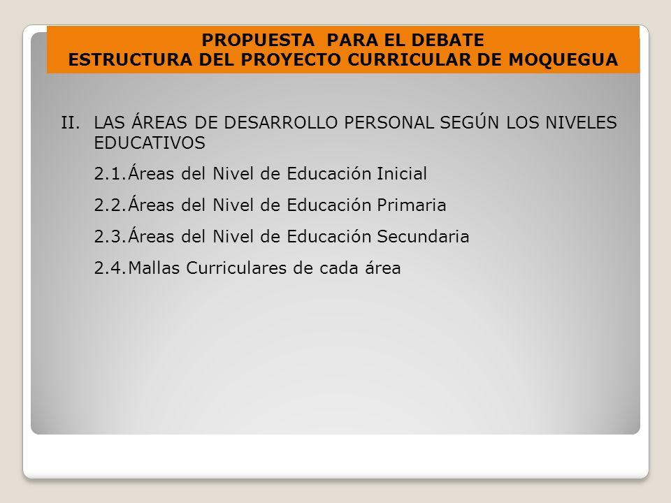 II.LAS ÁREAS DE DESARROLLO PERSONAL SEGÚN LOS NIVELES EDUCATIVOS 2.1.Áreas del Nivel de Educación Inicial 2.2.Áreas del Nivel de Educación Primaria 2.3.Áreas del Nivel de Educación Secundaria 2.4.Mallas Curriculares de cada área PROPUESTA PARA EL DEBATE ESTRUCTURA DEL PROYECTO CURRICULAR DE MOQUEGUA