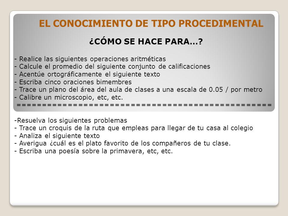 EL CONOCIMIENTO DE TIPO PROCEDIMENTAL ¿CÓMO SE HACE PARA….