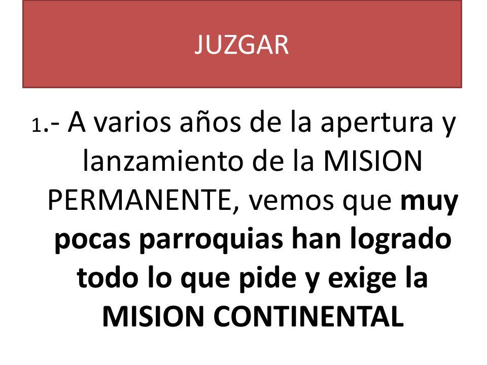 JUZGAR 1.- A varios años de la apertura y lanzamiento de la MISION PERMANENTE, vemos que muy pocas parroquias han logrado todo lo que pide y exige la