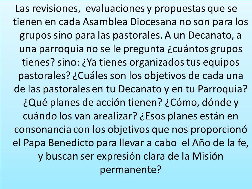 Las revisiones, evaluaciones y propuestas que se tienen en cada Asamblea Diocesana no son para los grupos sino para las pastorales. A un Decanato, a u