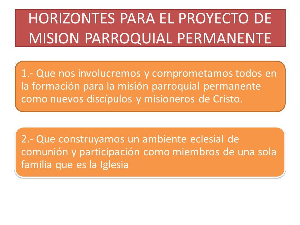 HORIZONTES PARA EL PROYECTO DE MISION PARROQUIAL PERMANENTE 1.- Que nos involucremos y comprometamos todos en la formación para la misión parroquial p